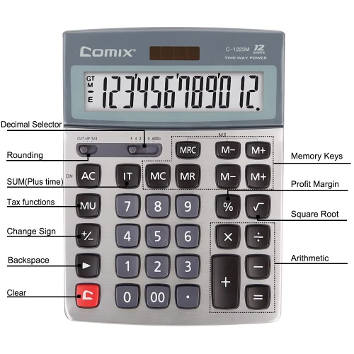 Comix C-1223M Standard Function Desktop Calculator Solor and Battery Dual Power with Kick Stand for School Office HomeComputer &amp; Stationery<br>Comix C-1223M Standard Function Desktop Calculator Solor and Battery Dual Power with Kick Stand for School Office Home<br>