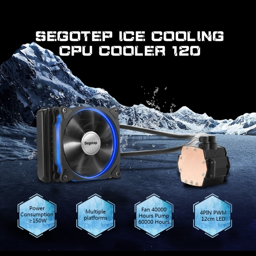 Segotep Liquid Freezer Water Ice Cooling System CPU Cooler Fluid Dynamic Bearing 120mm Fan with Blue LED LightComputer &amp; Stationery<br>Segotep Liquid Freezer Water Ice Cooling System CPU Cooler Fluid Dynamic Bearing 120mm Fan with Blue LED Light<br>