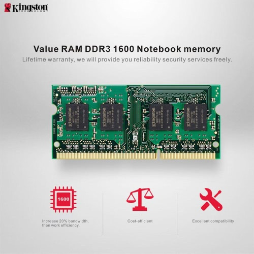 Genuine Original Kingston KVR Notebook RAM 1600MHz 8G 1.35V Non ECC DDR3 PC3L-12800 CL11 204 Pin SODIMM Motherboard MemoryComputer &amp; Stationery<br>Genuine Original Kingston KVR Notebook RAM 1600MHz 8G 1.35V Non ECC DDR3 PC3L-12800 CL11 204 Pin SODIMM Motherboard Memory<br>