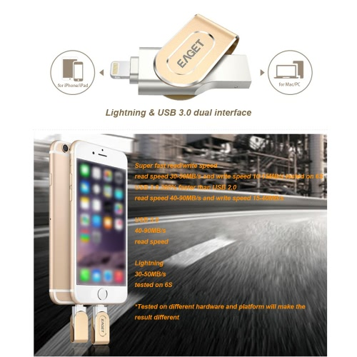 EAGET i80 64G USB 3.0 Lightning Connector Flash Drive with Touch ID Thumb Pen Drive Memory Stick Capacity Expansion MFi CertifiedComputer &amp; Stationery<br>EAGET i80 64G USB 3.0 Lightning Connector Flash Drive with Touch ID Thumb Pen Drive Memory Stick Capacity Expansion MFi Certified<br>