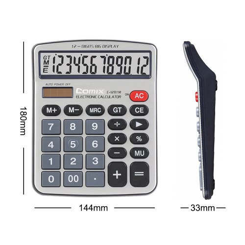 Comix C-1281M Standard Function Desktop Calculator 12 Digits Solor and Battery Dual Power for School Office HomeComputer &amp; Stationery<br>Comix C-1281M Standard Function Desktop Calculator 12 Digits Solor and Battery Dual Power for School Office Home<br>