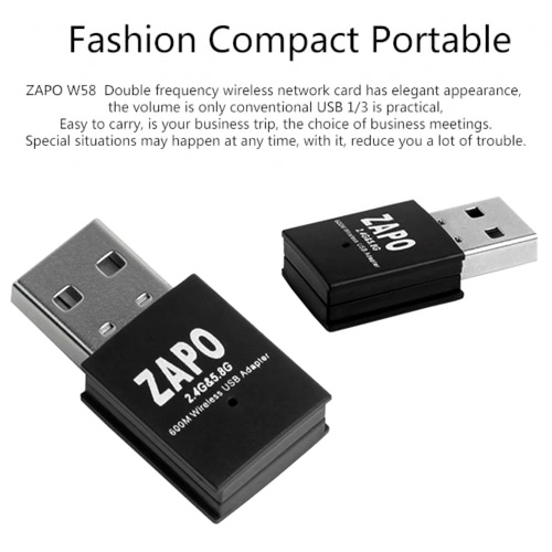 ZAPO  Mini Wireless USB WiFi Adapter Dual Band 2.4G/5.8Ghz 600M AC Network Dongle iEEE 802.11a/b/n/acComputer &amp; Stationery<br>ZAPO  Mini Wireless USB WiFi Adapter Dual Band 2.4G/5.8Ghz 600M AC Network Dongle iEEE 802.11a/b/n/ac<br>