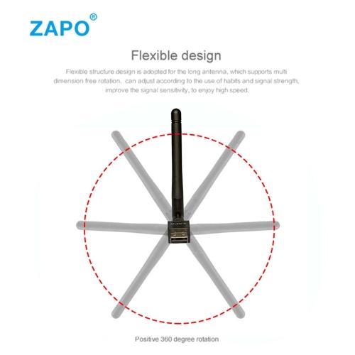 ZAPO W90 2.4G Wireless WiFi Adapter USB2.0 Wireless Network WiFi Adapter w/ Antenna for Laptop Desktop Tablet PC BlackComputer &amp; Stationery<br>ZAPO W90 2.4G Wireless WiFi Adapter USB2.0 Wireless Network WiFi Adapter w/ Antenna for Laptop Desktop Tablet PC Black<br>