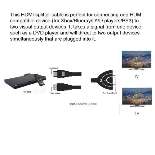 2160P HD Port Male to 2 Female 1 In 2 Out HD Video Splitter Cable Adapter Converter With USB Power for DVD HDTV PC TVComputer &amp; Stationery<br>2160P HD Port Male to 2 Female 1 In 2 Out HD Video Splitter Cable Adapter Converter With USB Power for DVD HDTV PC TV<br>