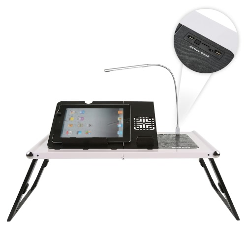 KKmoon Portable Ergonomic Foldable Laptop Desk Adjustable Notebook Bed Tray Table Tablet Phone Stand with 10000mAh Power Bank LEDComputer &amp; Stationery<br>KKmoon Portable Ergonomic Foldable Laptop Desk Adjustable Notebook Bed Tray Table Tablet Phone Stand with 10000mAh Power Bank LED<br>