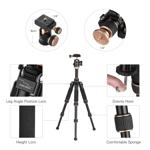 Andoer 53cm/21 Travel Portable Mini Tabletop Tripod with Phone Tripod Mount + Ball Head Quick Release PlateCameras &amp; Photo Accessories<br>Andoer 53cm/21 Travel Portable Mini Tabletop Tripod with Phone Tripod Mount + Ball Head Quick Release Plate<br>