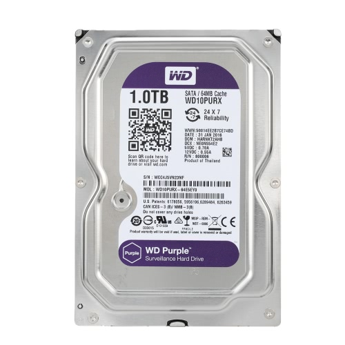 Western Digital WD púrpura 1TB vigilancia unidad de disco duro HDD interno escritorio IntelliPower RPM SATA 6Gb/s 64MB caché 3,5 WD10PURX