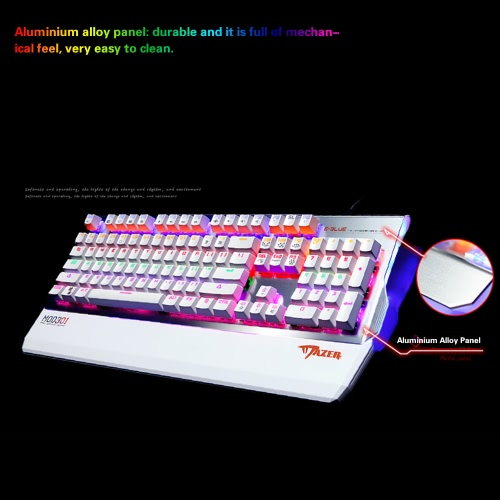 E-3lue EKM751 Ergonomic USB Wired Mechanical Gaming Keyboard High-speed 104 Keys Optional Colorful LED Backlit/Programmable RGB BaComputer &amp; Stationery<br>E-3lue EKM751 Ergonomic USB Wired Mechanical Gaming Keyboard High-speed 104 Keys Optional Colorful LED Backlit/Programmable RGB Ba<br>