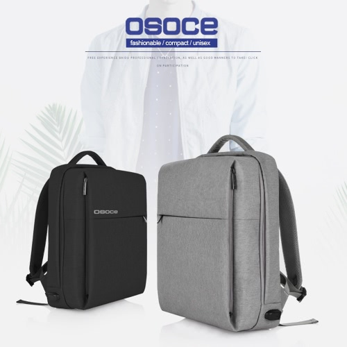 OSOCE S7 Computer Backpack Laptop Tablet PC Bag Water Resistant with USB Charging Port for up to 15.6 inch Laptop BlackComputer &amp; Stationery<br>OSOCE S7 Computer Backpack Laptop Tablet PC Bag Water Resistant with USB Charging Port for up to 15.6 inch Laptop Black<br>
