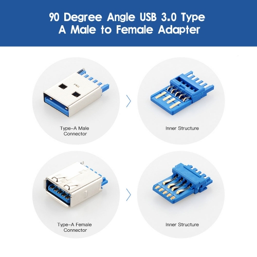 Right Angle USB3.0 AM to AF L Shape Adapter Converter USB 3.0 A Male to A Female 90 Degree Angle Plug Up