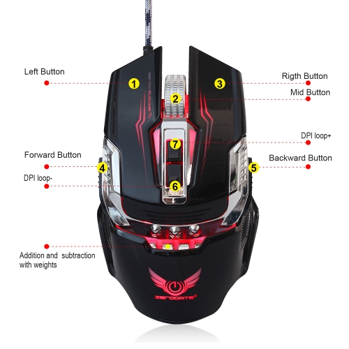 ZERODATE X900  Gaming Mouse Breathing Light Ergonomic 7 Buttons Wired USB Mechanical Mouse with 3200DPI for PC Gamer BlackComputer &amp; Stationery<br>ZERODATE X900  Gaming Mouse Breathing Light Ergonomic 7 Buttons Wired USB Mechanical Mouse with 3200DPI for PC Gamer Black<br>