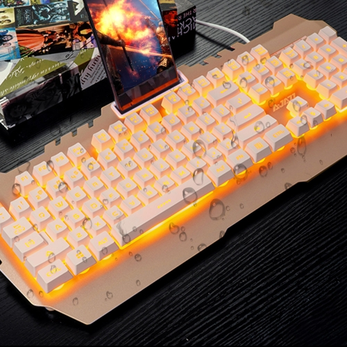AJAZZ USB Wired Gaming Mechanical Feel Keyboard Yellow Backlight Waterproof  Alloy Panel 104 Keys for Gaming Office BlackComputer &amp; Stationery<br>AJAZZ USB Wired Gaming Mechanical Feel Keyboard Yellow Backlight Waterproof  Alloy Panel 104 Keys for Gaming Office Black<br>