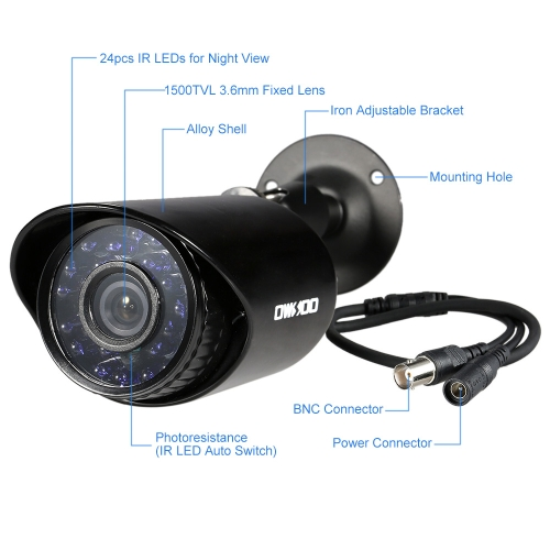 OWSOO 4CH H.264 Full 1080N DVR +4*1500TVL Waterproof CCTV Bullet Camera+ 4*60ft Surveillance CableSmart Device &amp; Safety<br>OWSOO 4CH H.264 Full 1080N DVR +4*1500TVL Waterproof CCTV Bullet Camera+ 4*60ft Surveillance Cable<br>