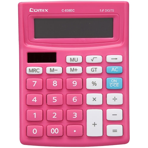 Comix C-838EC Colorful Standard Function Desktop Calculator 12 Digits Solor and Battery Dual Power for School Office HomeComputer &amp; Stationery<br>Comix C-838EC Colorful Standard Function Desktop Calculator 12 Digits Solor and Battery Dual Power for School Office Home<br>