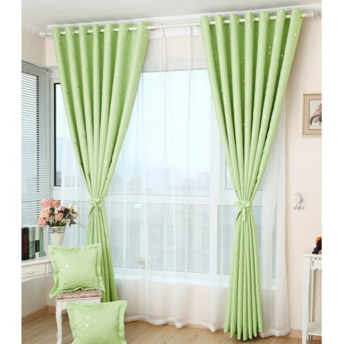Anself 2PCS 100*250cm Modern Punching Grommet Blackout Curtain Linings Panel Bright Colored Stars Curtains with White   Voile SoftHome &amp; Garden<br>Anself 2PCS 100*250cm Modern Punching Grommet Blackout Curtain Linings Panel Bright Colored Stars Curtains with White   Voile Soft<br>