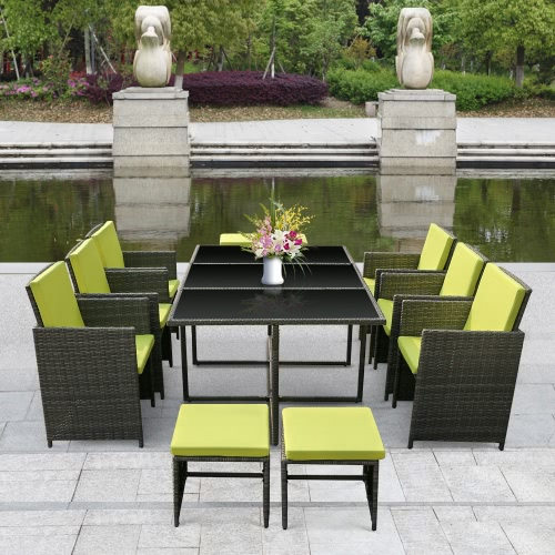 iKayaa 11PCS/10-Seater Rattan Patio Garden Dining Set Furniture Cushioned Outdoor Dining Table Chair Sofa Set Iron FrameHome &amp; Garden<br>iKayaa 11PCS/10-Seater Rattan Patio Garden Dining Set Furniture Cushioned Outdoor Dining Table Chair Sofa Set Iron Frame<br>