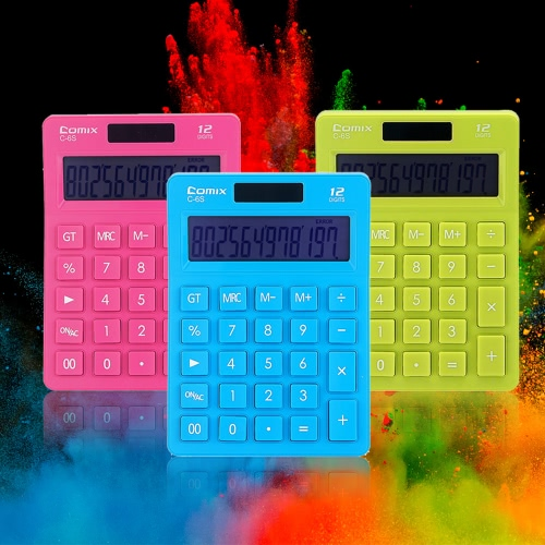 Comix C-6S Colorful Standard Function Desktop Calculator 12 Digits Solor and Battery Dual Power for School Office HomeComputer &amp; Stationery<br>Comix C-6S Colorful Standard Function Desktop Calculator 12 Digits Solor and Battery Dual Power for School Office Home<br>