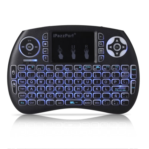 iPazzPort KP-810-21SDL Handheld 2.4G Wireless Multimedia Mini Spanish Version Keyboard with Touchpad Mouse Remote Control with BacComputer &amp; Stationery<br>iPazzPort KP-810-21SDL Handheld 2.4G Wireless Multimedia Mini Spanish Version Keyboard with Touchpad Mouse Remote Control with Bac<br>