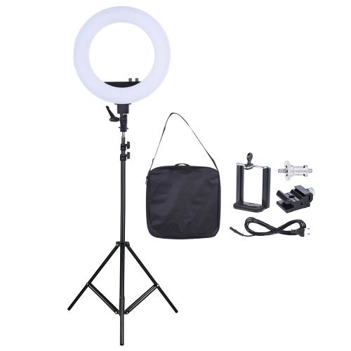 18 polegadas LED anel de vídeo luz lâmpada de preenchimento Studio Fotografia Iluminação 55W Brilho ajustável 3200-5500K Temperatura de cores com suporte para smartphone Saco de base de sapato frio + 2m / 6.6ft Light Stand