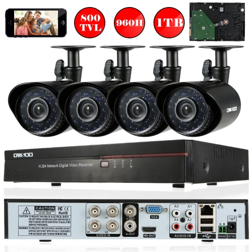 OWSOO 4CH Channel Full 960H/D1 800TVL CCTV Surveillance DVR Security System HD P2P Cloud Network Digital Video Recorder + 1TB HardSmart Device &amp; Safety<br>OWSOO 4CH Channel Full 960H/D1 800TVL CCTV Surveillance DVR Security System HD P2P Cloud Network Digital Video Recorder + 1TB Hard<br>