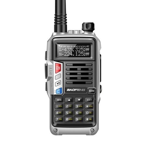 BAOFENG UV-S9 III Handheld Walkie Talkie Tri-Band 10W Amateurfunk 2 Antenne 10KM Long Range VOX Funktion 128CH Silber, EU Stecker