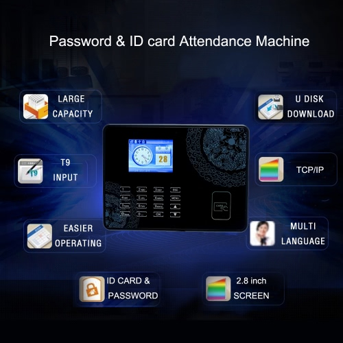 Password Card Attendance Machine Employee Checking-in Payroll Recorder TCP/IP 2.8 inch LCD Screen DC 5V Time Attendance ClockComputer &amp; Stationery<br>Password Card Attendance Machine Employee Checking-in Payroll Recorder TCP/IP 2.8 inch LCD Screen DC 5V Time Attendance Clock<br>