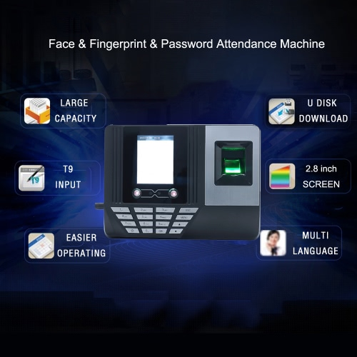 Face Fingerprint Password Attendance Machine Employee Checking-in Payroll Recorder 2.8 inch LCD Screen DC 5V Facial Recognition TiComputer &amp; Stationery<br>Face Fingerprint Password Attendance Machine Employee Checking-in Payroll Recorder 2.8 inch LCD Screen DC 5V Facial Recognition Ti<br>