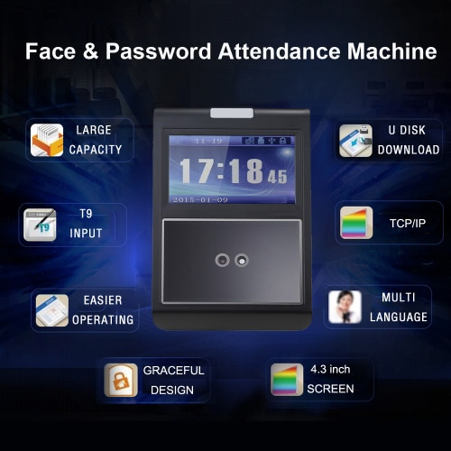 Face &amp; Password Attendance Machine Employee Checking-in Payroll Recorder TCP/IP 4.3 inch HVGA Screen DC 12V Facial Recognition TimComputer &amp; Stationery<br>Face &amp; Password Attendance Machine Employee Checking-in Payroll Recorder TCP/IP 4.3 inch HVGA Screen DC 12V Facial Recognition Tim<br>