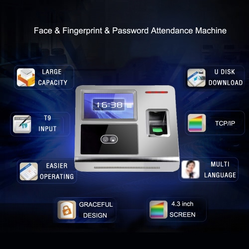 Face Fingerprint Password Attendance Machine Employee Checking-in Payroll Recorder TCP/IP 4.3 inch HVGA Screen DC 12V Facial RecogComputer &amp; Stationery<br>Face Fingerprint Password Attendance Machine Employee Checking-in Payroll Recorder TCP/IP 4.3 inch HVGA Screen DC 12V Facial Recog<br>