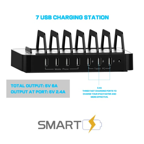 60W 7 Ports USB Charging Station &amp; Organizer Hub Charger with 2.4A Fast Charge for iPhone iPad Samsung HTC Tablets Smartphones MulComputer &amp; Stationery<br>60W 7 Ports USB Charging Station &amp; Organizer Hub Charger with 2.4A Fast Charge for iPhone iPad Samsung HTC Tablets Smartphones Mul<br>