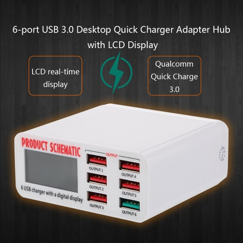 Quick Charge 3.0 6-Port 6A USB Desktop Charger Adapter Hub Multi Port USB Wall Charger Dock Station with LCD Display Intelligent IComputer &amp; Stationery<br>Quick Charge 3.0 6-Port 6A USB Desktop Charger Adapter Hub Multi Port USB Wall Charger Dock Station with LCD Display Intelligent I<br>