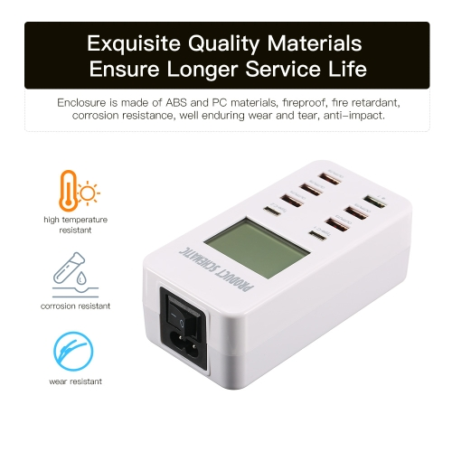 Quick Charge 3.0 8A 6-Port USB Wall Charger and 2-Port Type-C Desktop Charger Charging Station with LCD Display Intelligent IC AutComputer &amp; Stationery<br>Quick Charge 3.0 8A 6-Port USB Wall Charger and 2-Port Type-C Desktop Charger Charging Station with LCD Display Intelligent IC Aut<br>