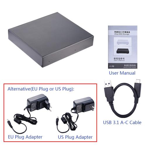 Dual Bay 2.5 SATA HDD/SSD Enclosure HDD Storage Case USB3.1 Type-c to SATA3 Hard Disk Drive Box External Enclosure Built-in CooliComputer &amp; Stationery<br>Dual Bay 2.5 SATA HDD/SSD Enclosure HDD Storage Case USB3.1 Type-c to SATA3 Hard Disk Drive Box External Enclosure Built-in Cooli<br>