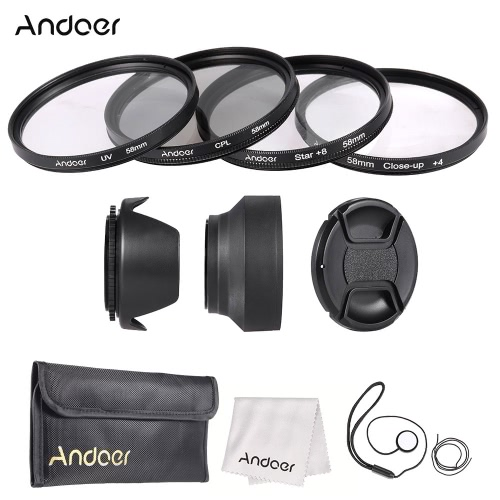 Andoer 58mm Lens Filter Kit with Lens Cap Holder Tulip Rubber Lens Hoods Cleaning ClothCameras &amp; Photo Accessories<br>Andoer 58mm Lens Filter Kit with Lens Cap Holder Tulip Rubber Lens Hoods Cleaning Cloth<br>
