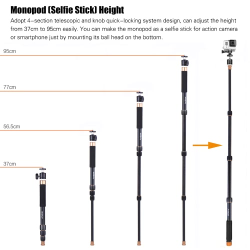 Andoer Q148B Portable Photography Aluminum Alloy Camera Monopod Also As Selfie Stick 4-Section Telescopic Twist-Locking System 32cCameras &amp; Photo Accessories<br>Andoer Q148B Portable Photography Aluminum Alloy Camera Monopod Also As Selfie Stick 4-Section Telescopic Twist-Locking System 32c<br>