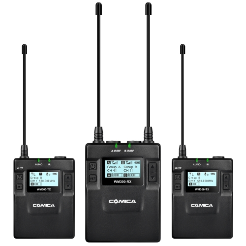 CoMica CVM-WM300(A) UHF 96-Channel Zinc Alloy Rechargeable Wireless Microphone Receiver + Dual Lavalier Mic Transmitters SystemCameras &amp; Photo Accessories<br>CoMica CVM-WM300(A) UHF 96-Channel Zinc Alloy Rechargeable Wireless Microphone Receiver + Dual Lavalier Mic Transmitters System<br>