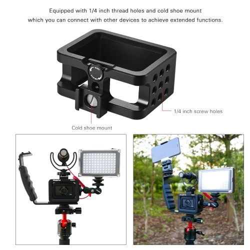 Madoffut MRO-1880 CNC Aluminum Alloy Photography Camera Cage Rig Bracket with Cold Shoe Mount for Sony RX0 Camera