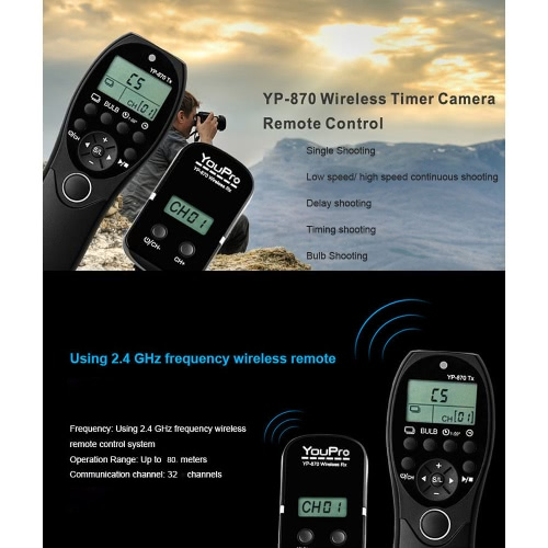 YouPro YP-870 DC2 2.4G Wireless Remote Control LCD Timer Shutter Release Transmitter Receiver 32 Channels for Nikon D750 D7100 D72Cameras &amp; Photo Accessories<br>YouPro YP-870 DC2 2.4G Wireless Remote Control LCD Timer Shutter Release Transmitter Receiver 32 Channels for Nikon D750 D7100 D72<br>