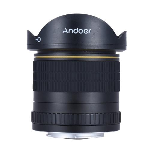 Andoer 8 mm F / 3.5 170 ° ultra ancha HD de ojo de pez circular asférica de la lente para Nikon D7100 D7200 D7000 D5500 D300 D300S D810 D800 D800E D810A D600 D610 D700 D4 D5 D4S D3X D750 Cámaras DSLR - Full Frame cámara Compatible