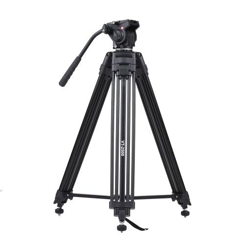 Kingjoy VT-2500 152cm / 5ft Камерная видеокамера Штатив с 360 ° Fluid Damping Head / Stable Middle Support / Nail Foot Mg-Al Alloy Макс. Загрузите 8 кг / 18Lbs с сумкой для переноски для Canon Nikon Sony DSLR ILDC