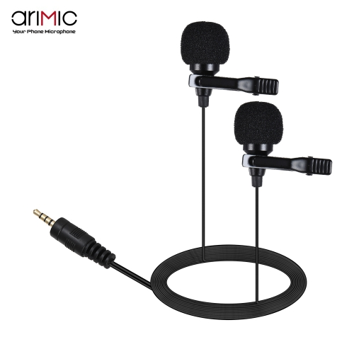 ARIMIC Dual-Headed Lavalier Lapel Clip-on Omnidirectional Condenser MicrophoneCameras &amp; Photo Accessories<br>ARIMIC Dual-Headed Lavalier Lapel Clip-on Omnidirectional Condenser Microphone<br>