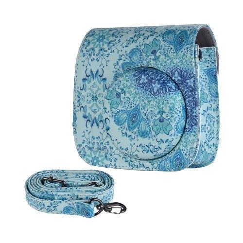 Fujifilm Instax Mini 9/8 + / 8s / 8、Blue用Andoer PUカメラケースバッグ