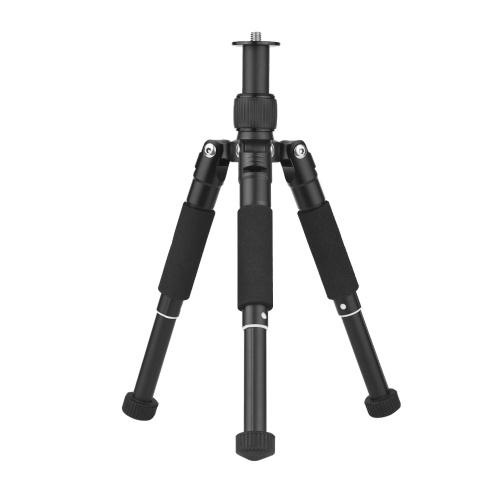 Aleación de aluminio Mini trípode Ajuste de 3 posiciones Soporte telescópico Tornillo de 3/8 pulgadas Max. Altura 32.3cm para DSLR ILDC Phone Action Camera