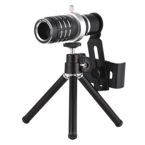 Téléobjectif pour téléphone mobile avec zoom optique 12X avec trépied pour iPhone Samsung HTC Nokia Sony Black
