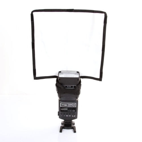 Dobrável Flash Difusor Refletor Snoot Softbox Speedlight Prata / Branco para DSLR Refletir Luz Painel Bender