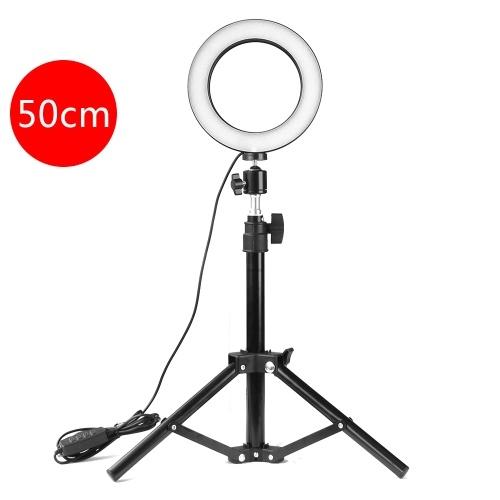Réglable 160 mm photographie LED Selfie Light-Ring éclairage en continu de la lumière de remplissage de lumière Dimmable avec USB pour caméra vidéo en direct beauté (support 500mm)