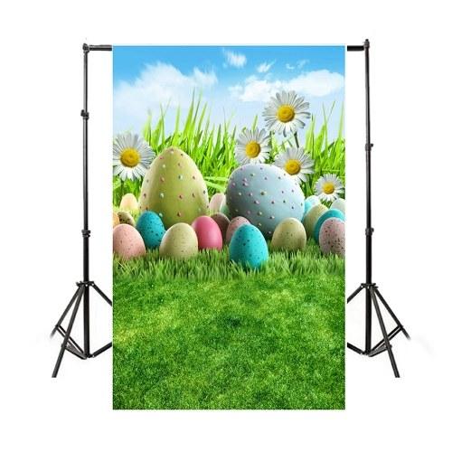 Tema di Pasqua Fotografia Sfondo Uova Coniglio Fiori Prateria Foto di fondali per bambini Photo Studio