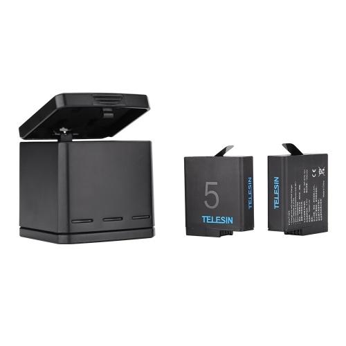 Kit de chargeur de batterie rechargeable triple chargeur TELESIN