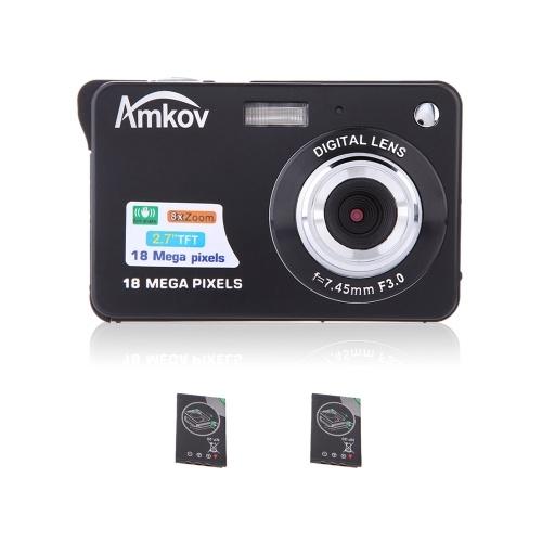 """Compact HD Caméscope Caméra Numérique 18MP 2.7 """"TFT 8X Zoom Sourire Capture Anti-shake avec 2pcs Batteries Cadeau Du Festival De Noël"""