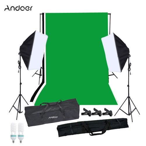 Photography Softbox Lighting Kit with Studio Background Stand Black White Green Backdrop 125W Light Bulbs Single-capped Softbox LiCameras &amp; Photo Accessories<br>Photography Softbox Lighting Kit with Studio Background Stand Black White Green Backdrop 125W Light Bulbs Single-capped Softbox Li<br>